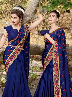 Blue Satin Festival Saree