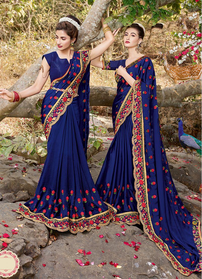Blue Satin Festival Saree