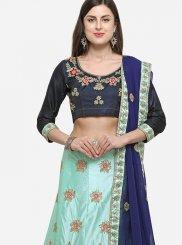 Blue Satin Silk Designer Lehenga Choli