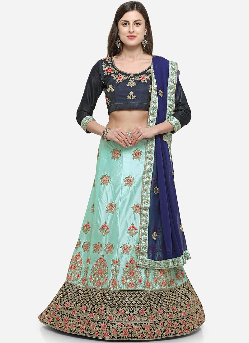 Blue Satin Silk Designer Lehenga Choli