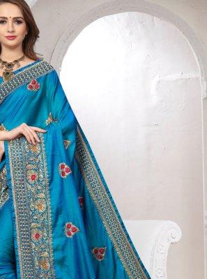 Blue Satin Silk Embroidered Classic Saree