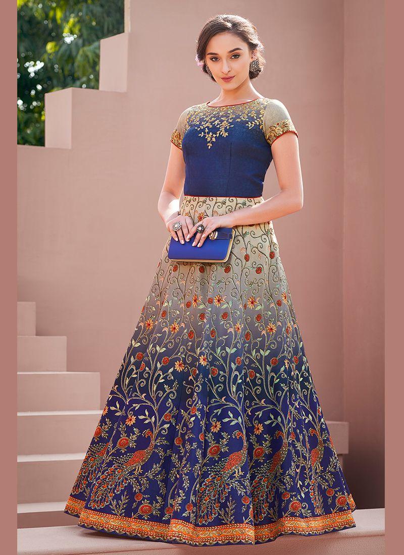 Blue Satin Silk Festival Designer Gown