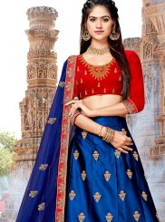 Blue Satin Silk Trendy A Line Lehenga Choli