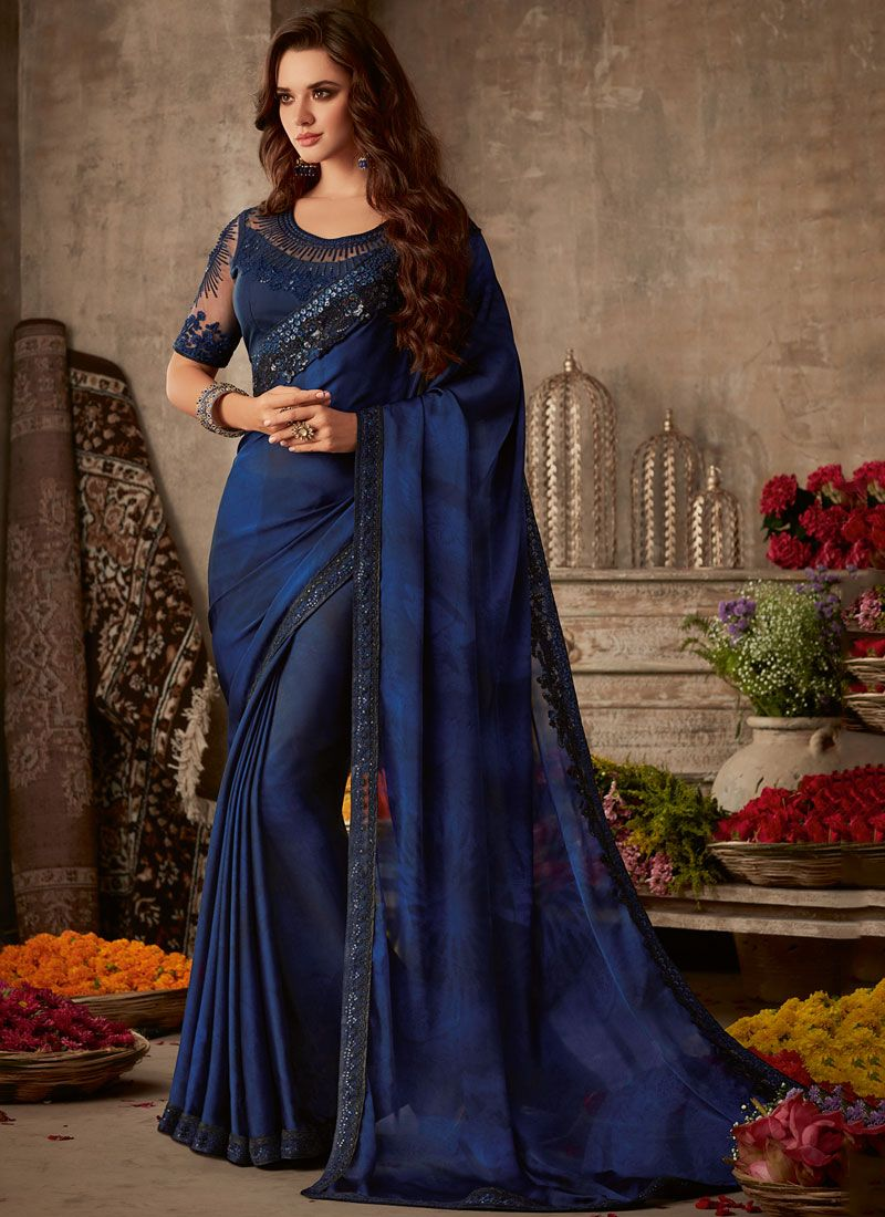 Blue Silk Silk Saree