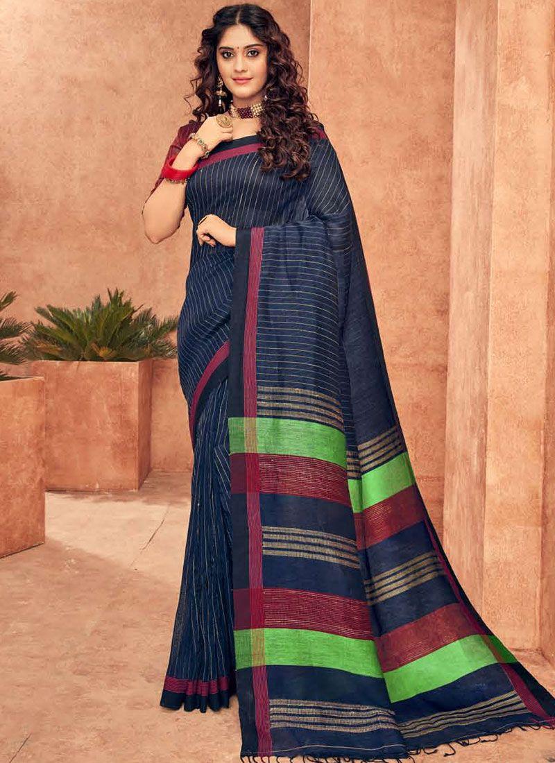 Blue Silk Wedding Designer Traditional Saree