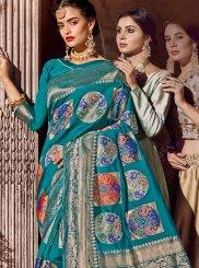 Blue Stone Work Classic Designer Saree