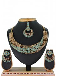 Blue Stone Work Necklace Set