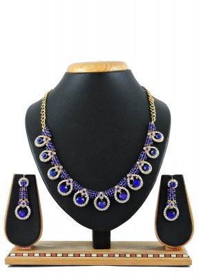 Blue Stone Work Reception Necklace Set