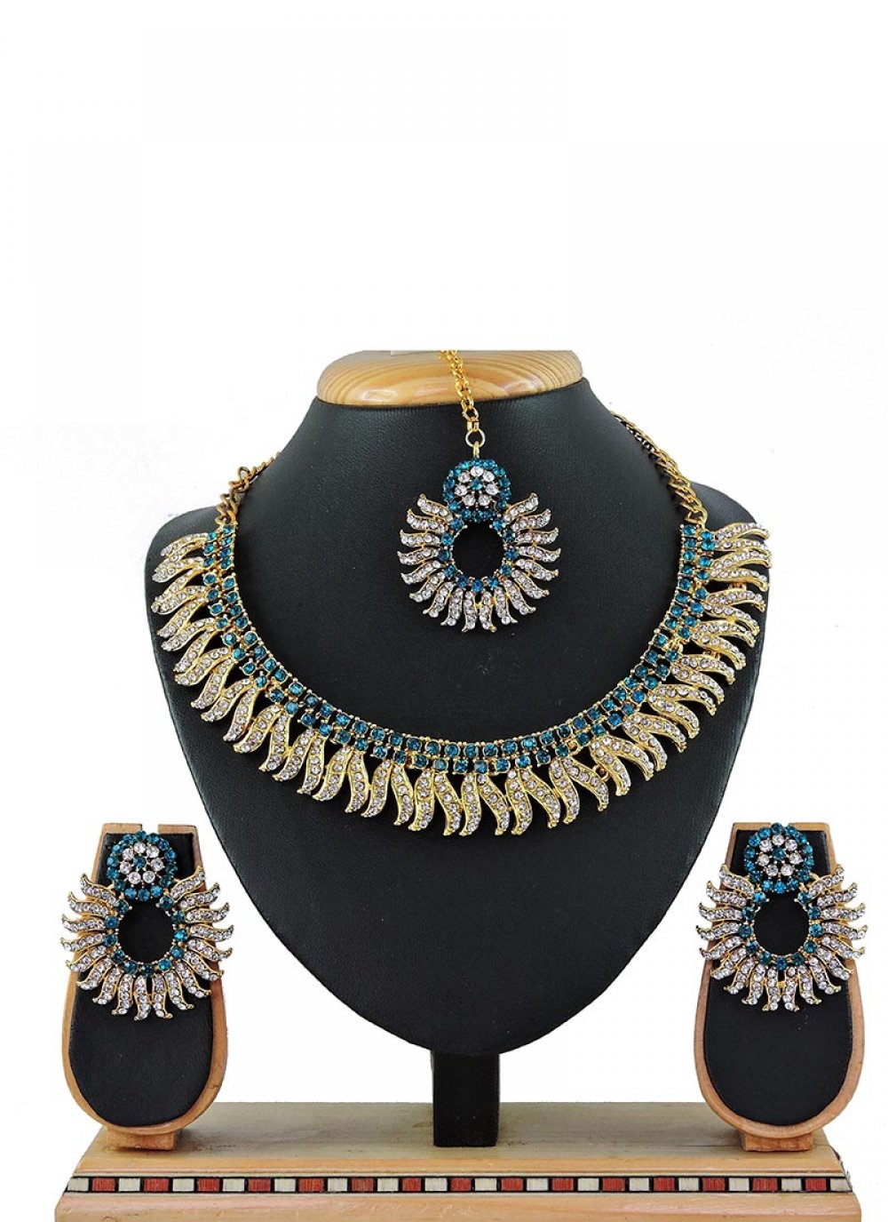 Blue Stone Work Sangeet Necklace Set