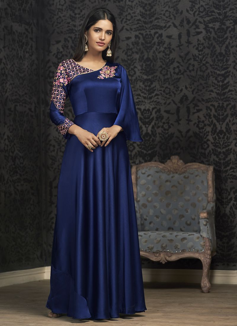 Blue Tafeta Silk Embroidered Readymade Gown
