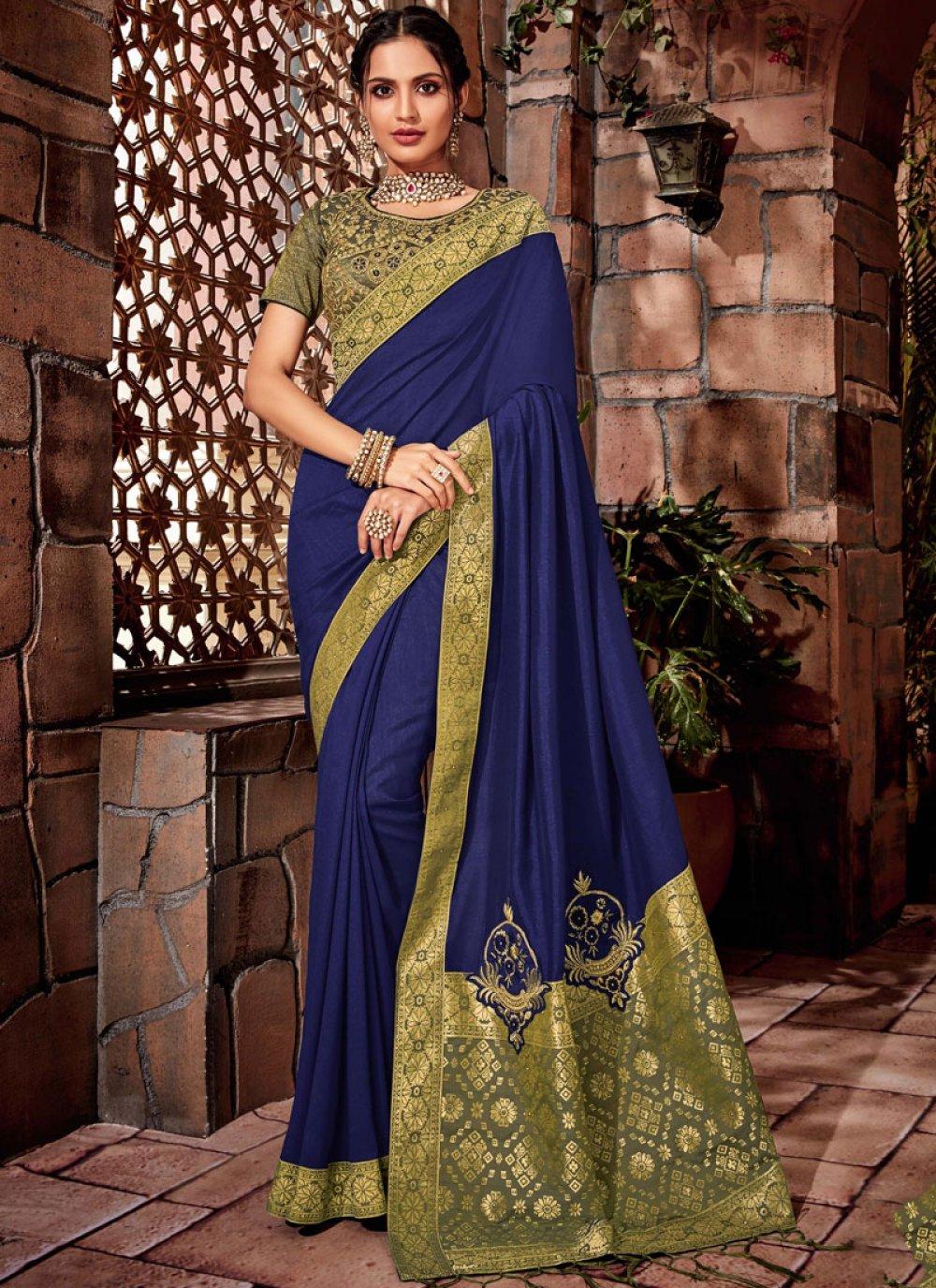 Blue Thread Mehndi Designer Saree