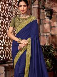 Blue Thread Mehndi Designer Saree