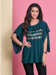 Blue Thread Work Rayon Casual Kurti