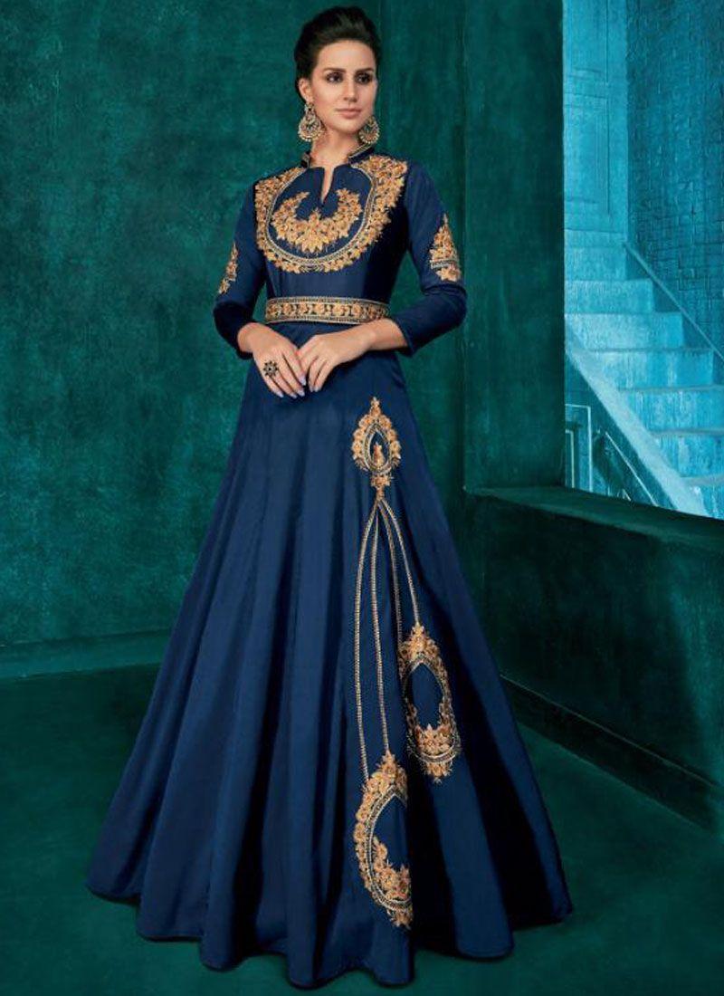 Blue Trendy Anarkali Salwar Kameez
