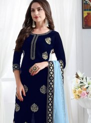 Blue Velvet Churidar Designer Suit