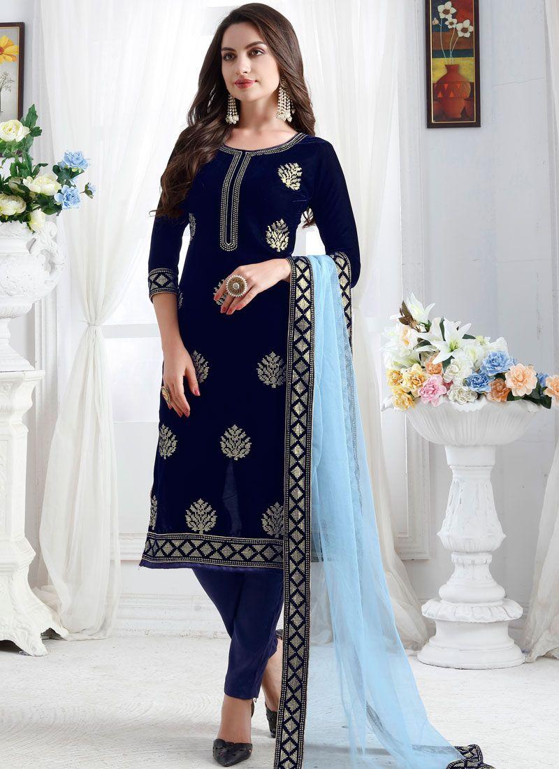 Blue Velvet Churidar Designer Suit