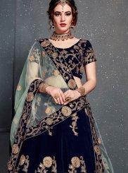 Blue Velvet Designer Lehenga Choli