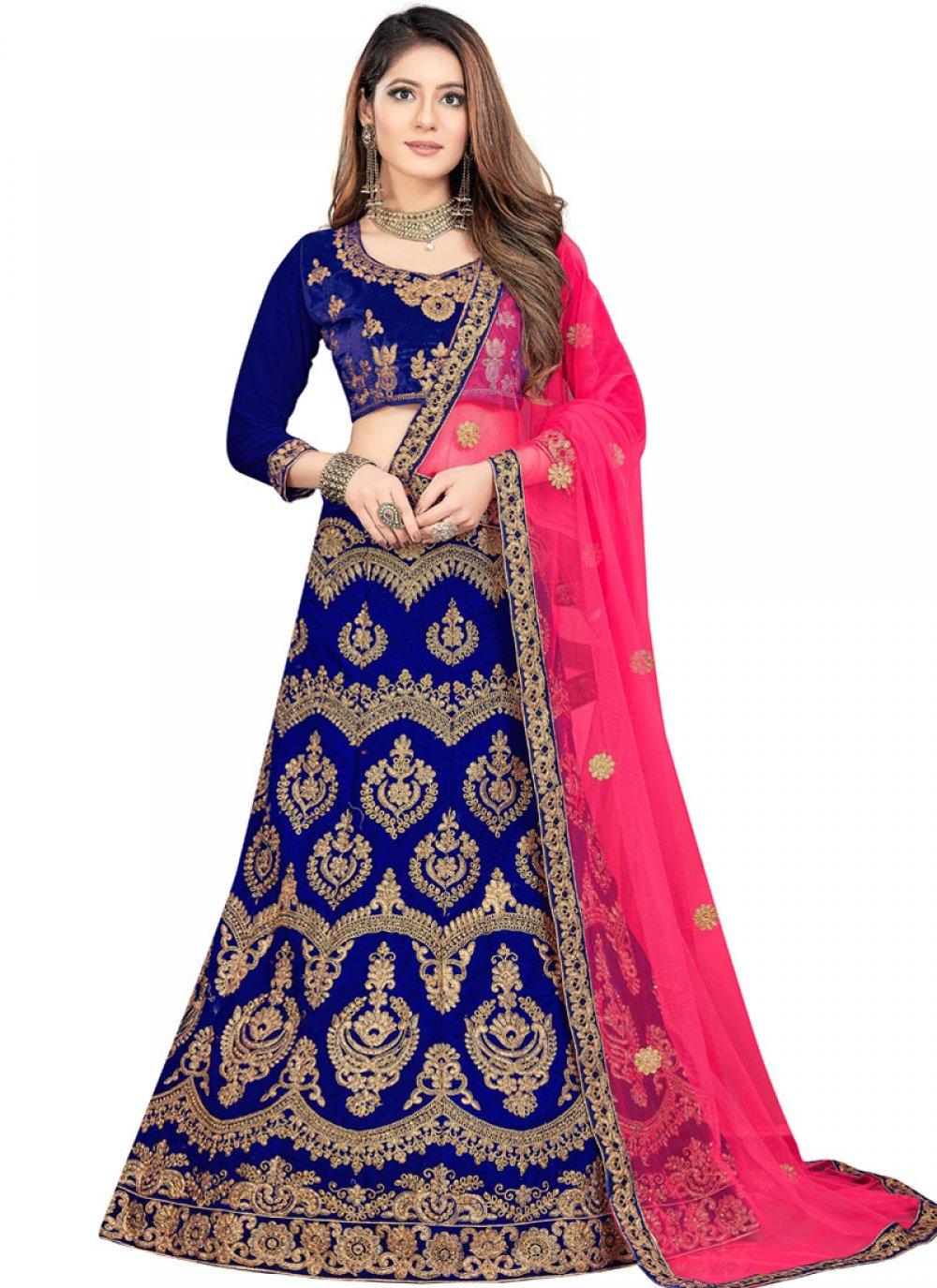 Blue Velvet Trendy Lehenga Choli