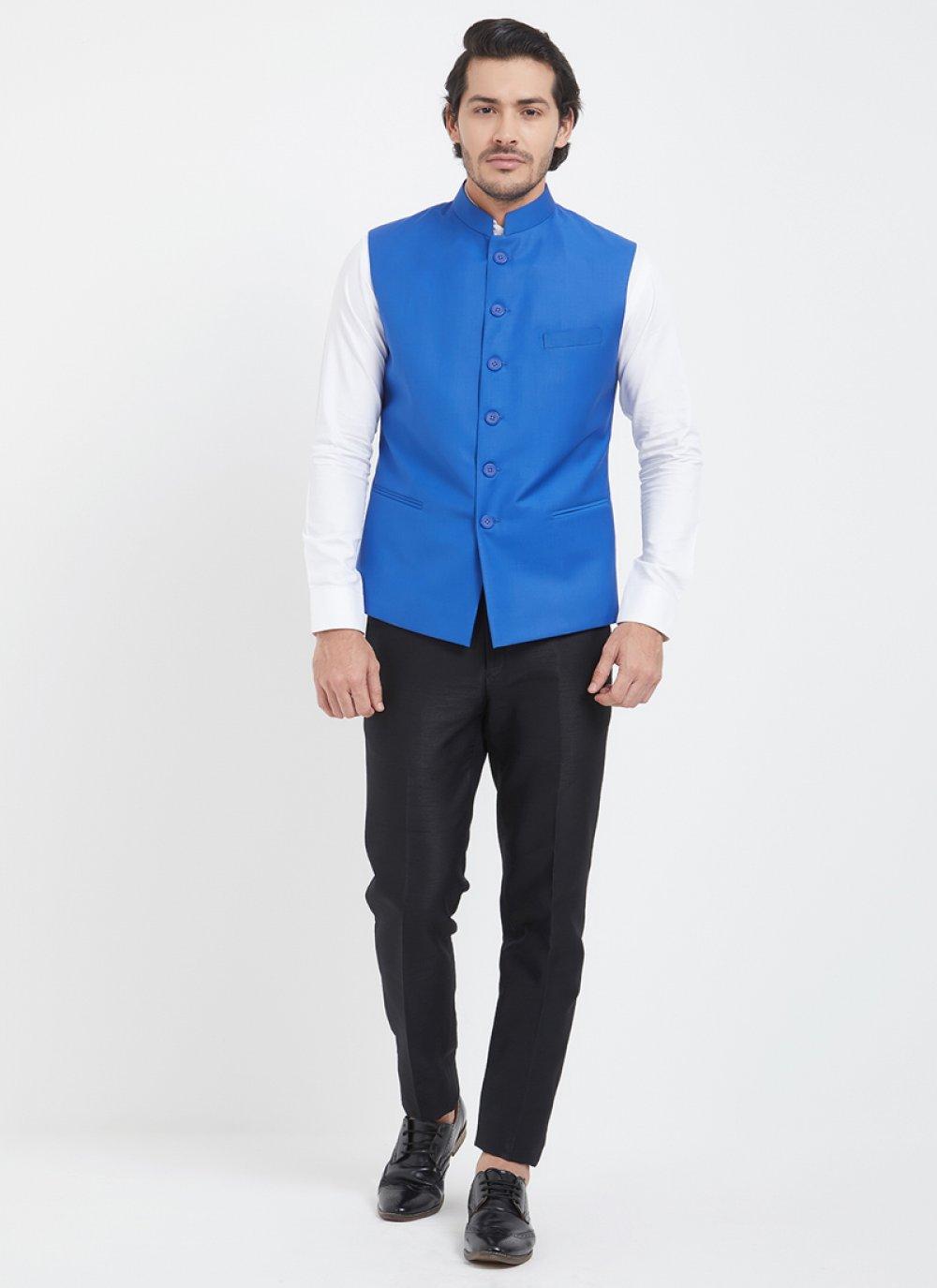 Blue Viscose Nehru Jackets