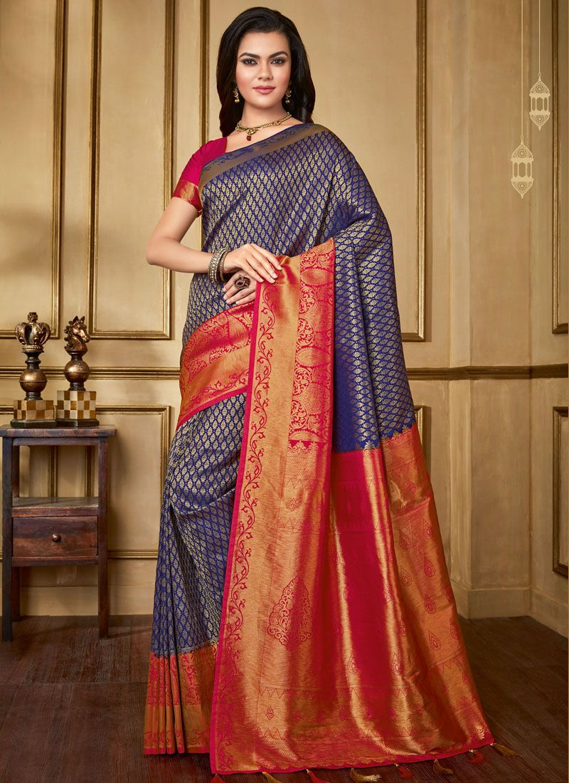Blue Weaving Art Silk Designer Saree