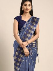 Blue Weaving Art Silk Silk Saree