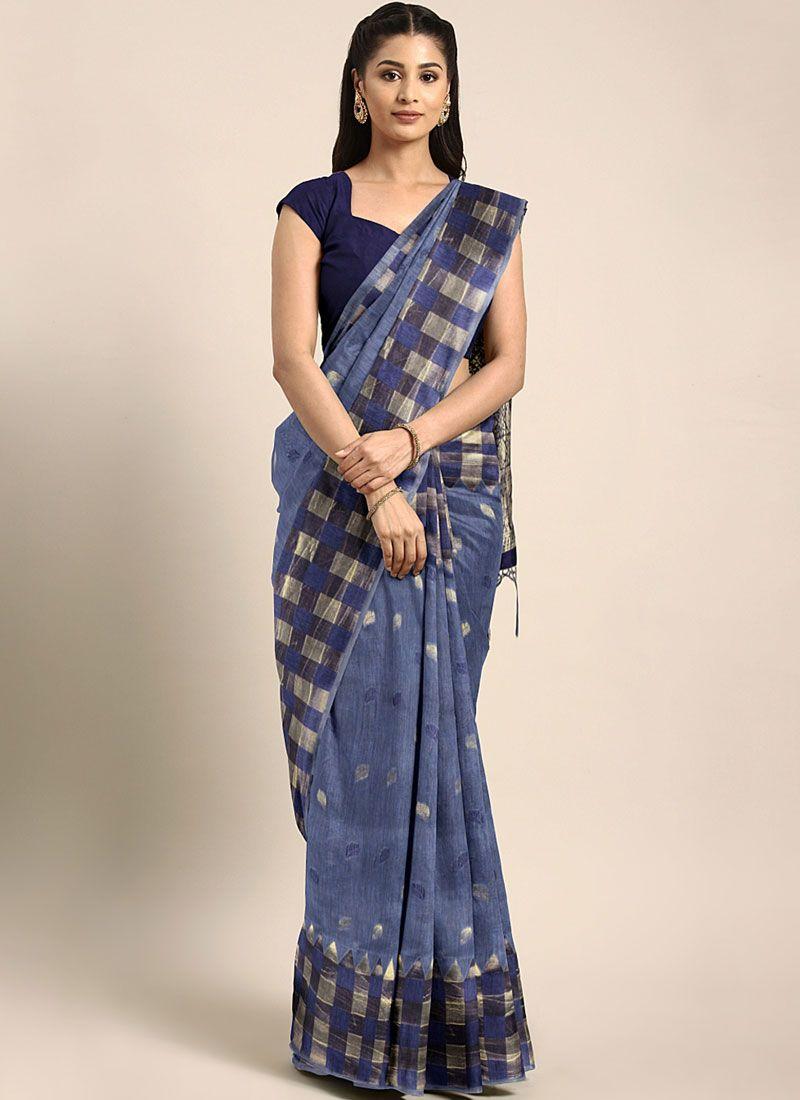 Blue Weaving Art Silk Silk Saree