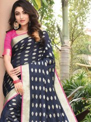 Blue Weaving Art Silk Traditional Saree