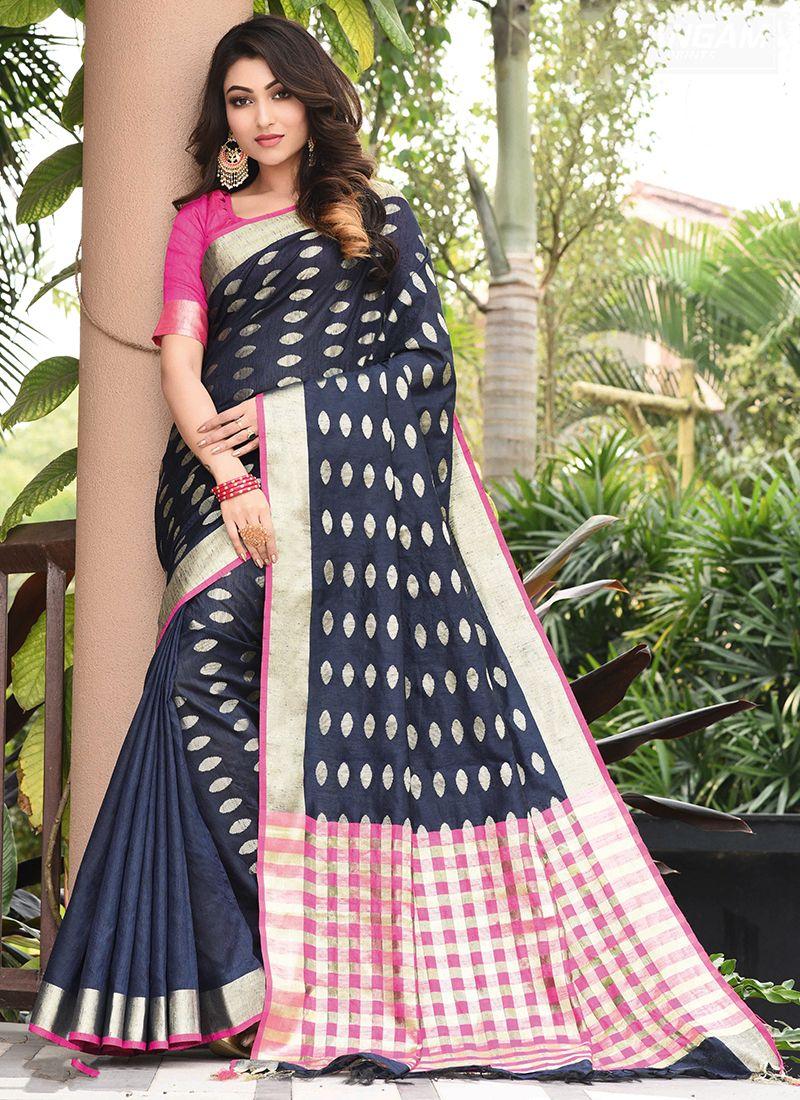 Blue Weaving Art Silk Traditional Saree