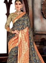 Blue Weaving Bhagalpuri Silk Designer Saree