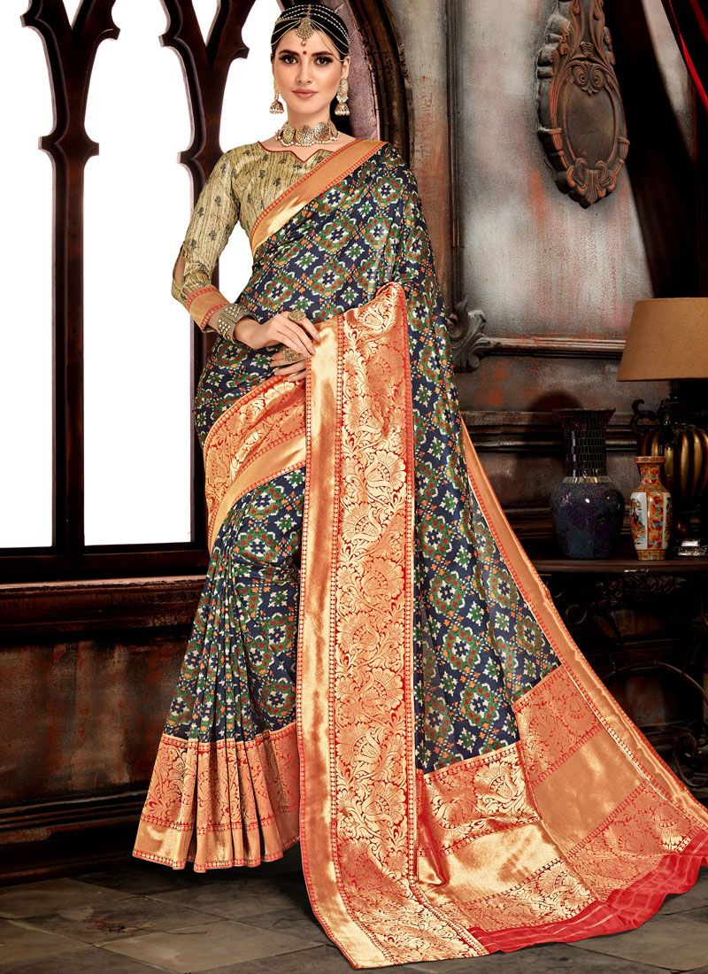 Blue Weaving Bhagalpuri Silk Designer Saree
