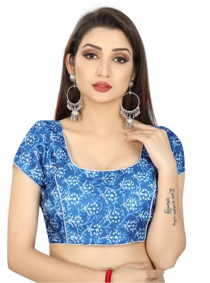Blue Weaving Brocade Designer Blouse