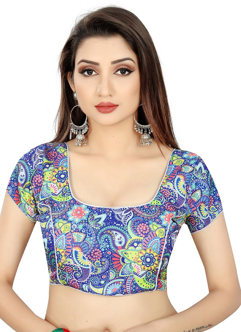 Blue Weaving Casual Designer Blouse