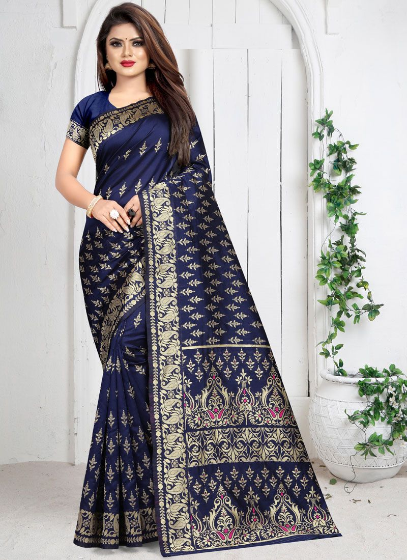 Blue Weaving Casual Silk Saree