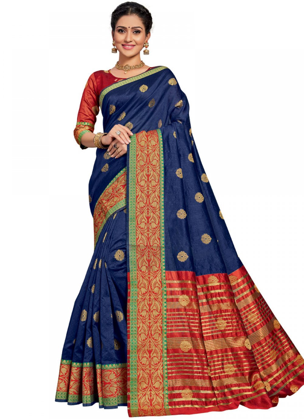 Blue Weaving Ceremonial Traditional Designer Saree