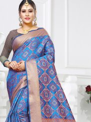 Blue Weaving Ceremonial Traditional Designer Saree
