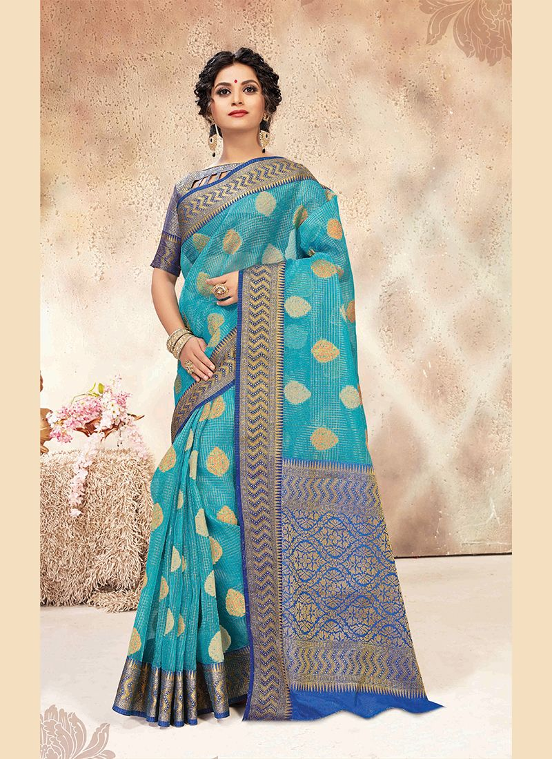Blue Weaving Chanderi Designer Traditional Saree