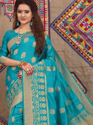 Blue Weaving Fancy Fabric Traditional Designer Saree