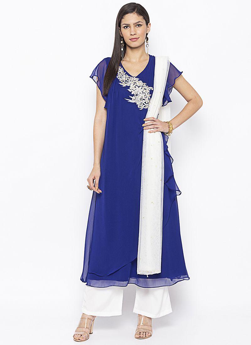 Blue Weaving Georgette Salwar Kameez