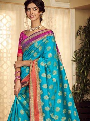 Blue Weaving Handloom silk Classic Saree