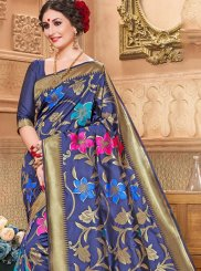 Blue Weaving Jacquard Silk Designer Traditional Saree
