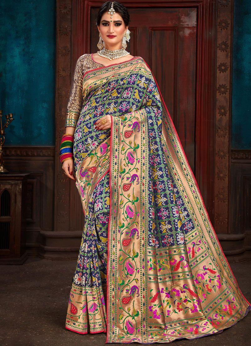 Blue Weaving Patola Silk  Traditional Saree