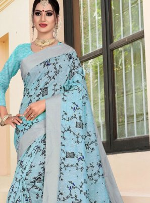 Blue Weaving Printed Saree