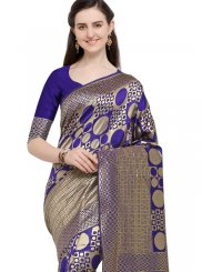 Blue Weaving Traditional Designer Saree