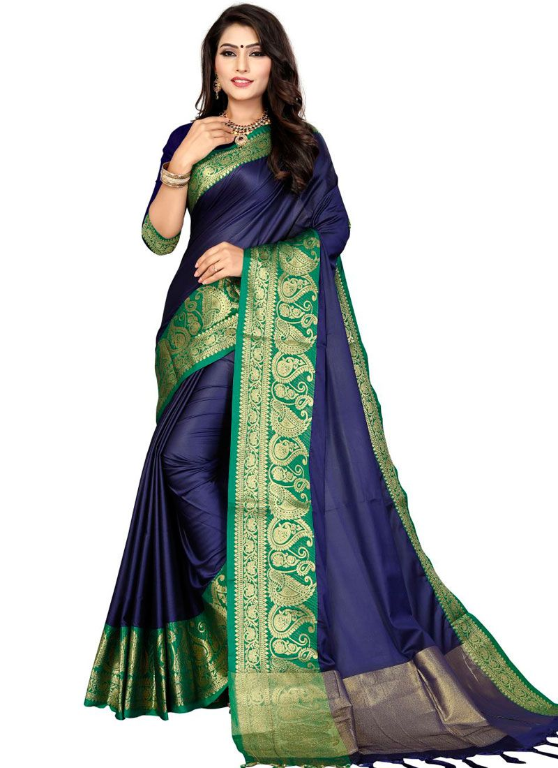 Blue Weaving Traditional Saree