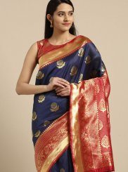 Blue Weaving Trendy Saree