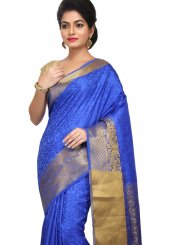 Blue Weaving Wedding Traditional Designer Saree