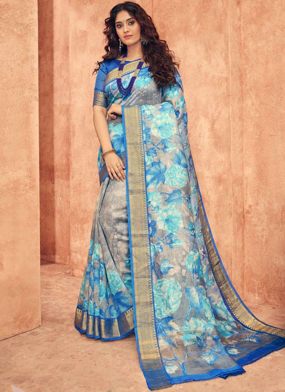Blue Weaving Wedding Traditional Saree