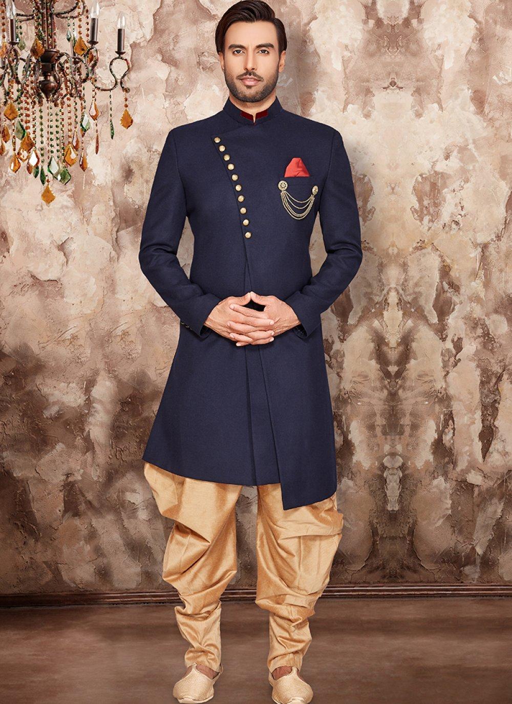 Blue Wedding Art Dupion Silk Indo Western