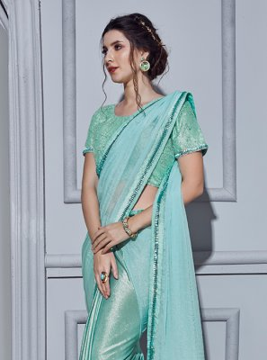 Blue Wedding Fancy Fabric Classic Designer Saree