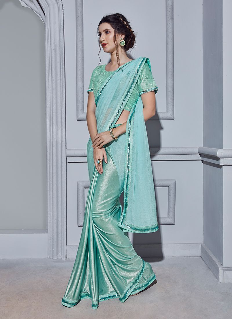 Blue Wedding Fancy Fabric Classic Designer Saree